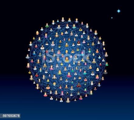 Social network sphere - vector illustration.