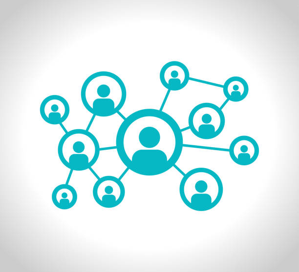 social network stock ilustracja. ikona wektora połączenia, sieci komputerowej, mediów społecznościowych lub komunikacji - sieć komputerowa stock illustrations