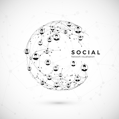 Social network. Structure of globe connection. world wide web concept. Vector illustration