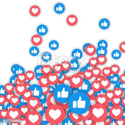 istock Social network symbol. Like and thumbs up icons isolated on white background. Counter notification icons. Social media elements. Emoji reactions. Vector illustration 1207735665