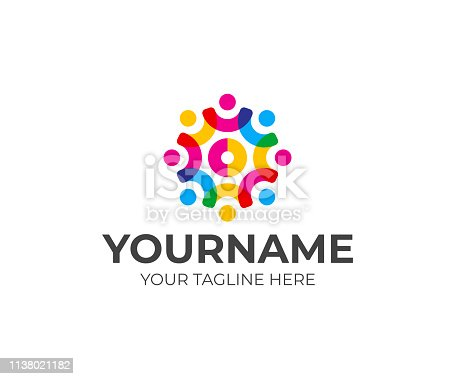 istock Social network team design. Community of people in the shape of a gear vector design. Teamwork design 1138021182