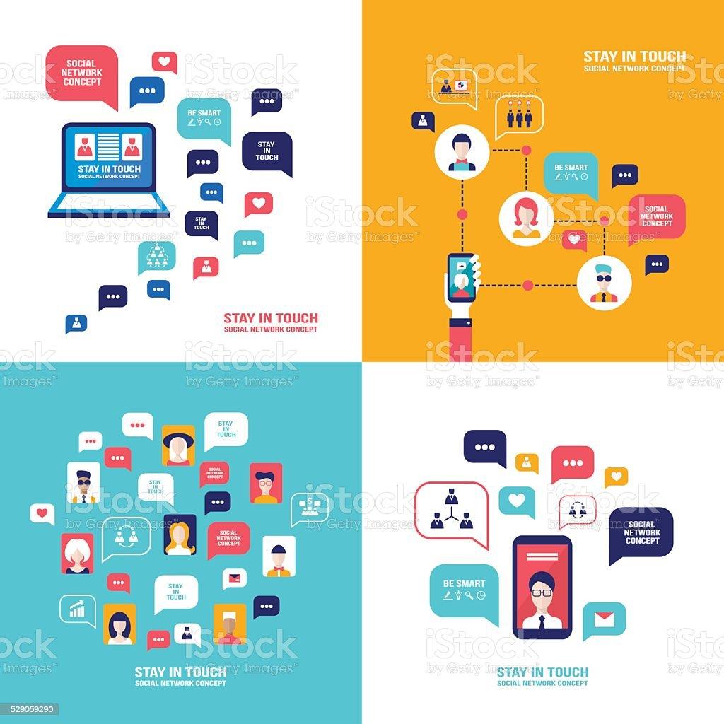 Tecnología de red Social conjunto de Bandera personas con distintos dispositivos electrónicos - ilustración de arte vectorial