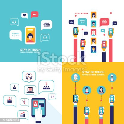 Social Network Technology Banner set User Communications on web and mobile phone Vector illustration