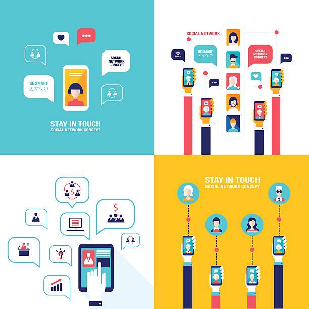 Social Network Technology Banner set User Communications on web vector art illustration