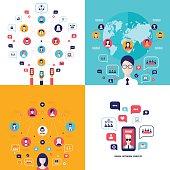 Social Network Technology Banner set User Communications on web concept