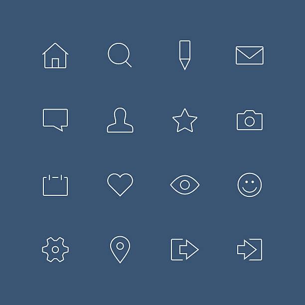 ilustrações de stock, clip art, desenhos animados e ícones de rede social conjunto de ícones de contorno fino - going inside eye