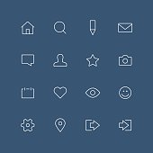 Social network thin outline icon set