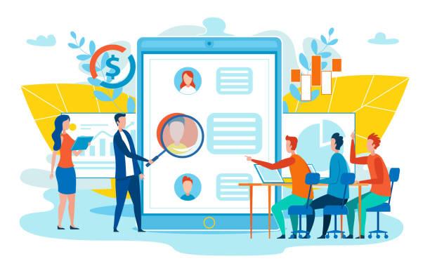 ilustraciones, imágenes clip art, dibujos animados e iconos de stock de perfil de usuario de red social estudio vector concept - research