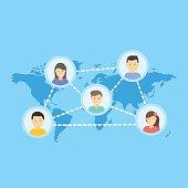 Social Network Vector Concept. Flat Design Illustration for Web Sites