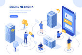 Social network concept. Can use for web banner, infographics, hero images. Flat isometric vector illustration isolated on white background.