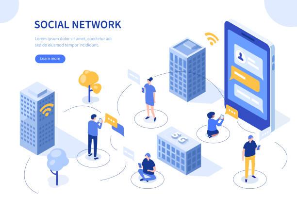 ilustraciones, imágenes clip art, dibujos animados e iconos de stock de red social - infografías de redes sociales
