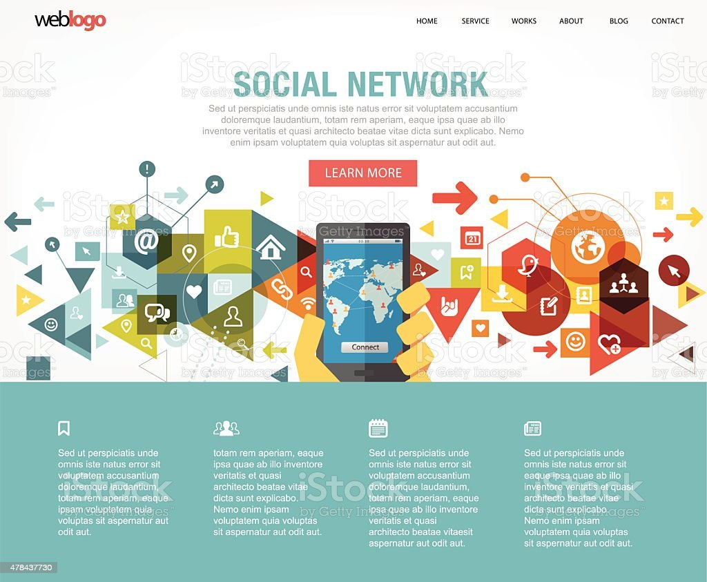 Social Network Web Design Layout Stock Vector Art & More Images of ...