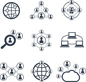 Social network symbols. Vector icons of connection people to network and internet social people communication signs
