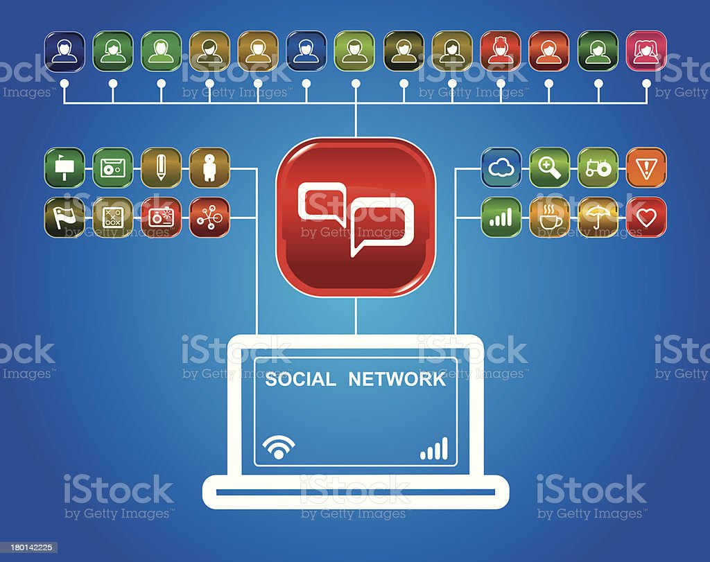 social network with set of app icons royalty-free social network with set of app icons stock vector art & more images of archives