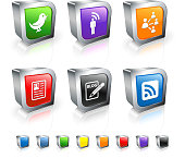 social networking 3D royalty free vector icon set
