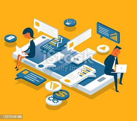 Online communication, isometric business network communication and analysis stock illustration