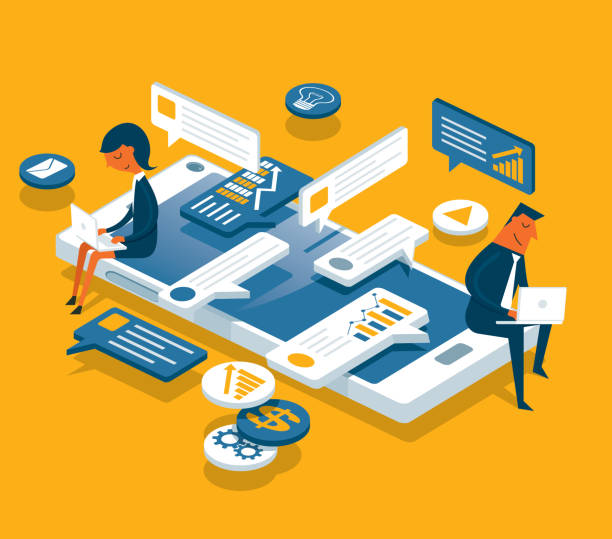 ilustrações, clipart, desenhos animados e ícones de redes sociais - empresários - social media