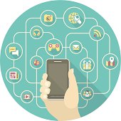 Conceptual illustration of the social interaction in the network using a smart phone.
