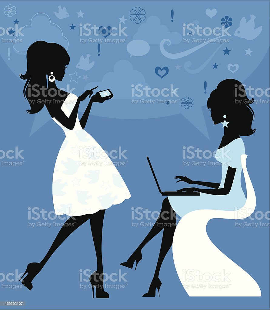 Social Networking Girls royalty-free social networking girls stock vector art & more images of adult