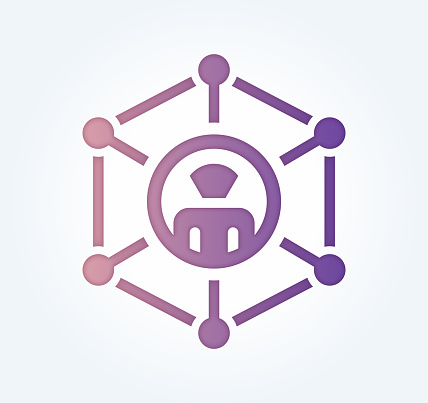 Social Networking Gradient Fill Color & Paper-Cut Style Icon Design