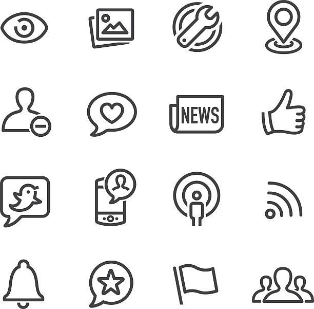 ソーシャルネットワークのアイコン-ラインシリーズ ベクターアートイラスト
