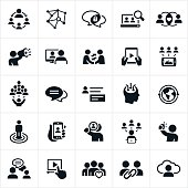 A set of social media or social networking icons. The icons visually represent common social networking themes and the technology that connects social interactions.