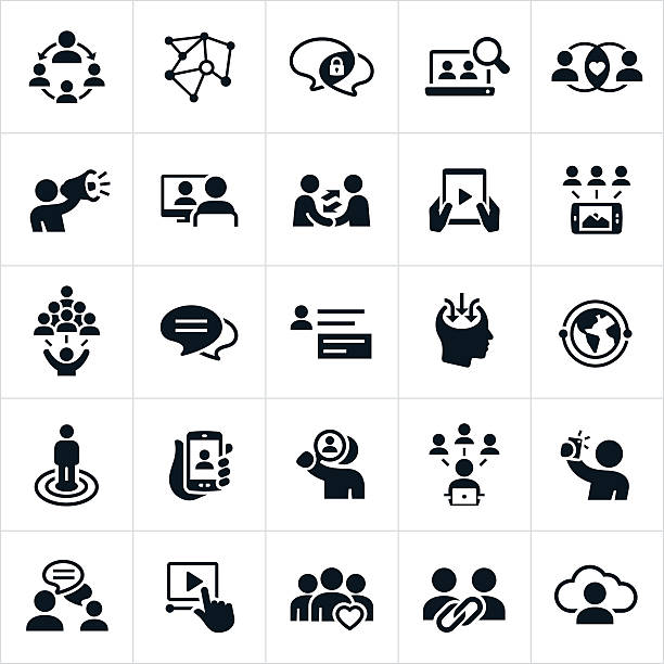 social networking icons - social stock illustrations, clip art, cartoons, & icons
