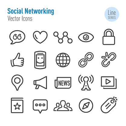 Social Networking Icons - Vector Line Series