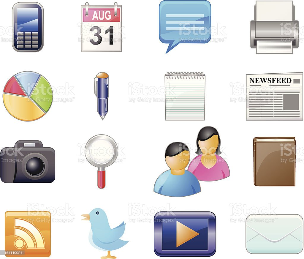 Social Networking Media Vector Icons royalty-free stock vector art