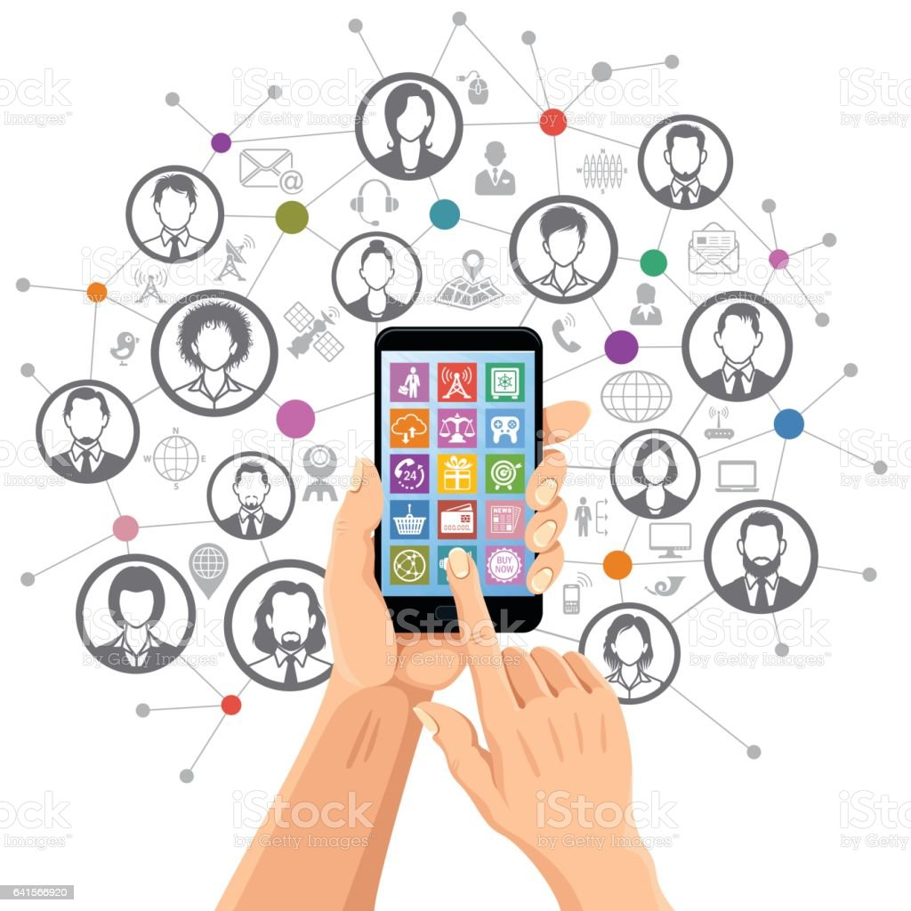Social networking on mobile phone vector art illustration