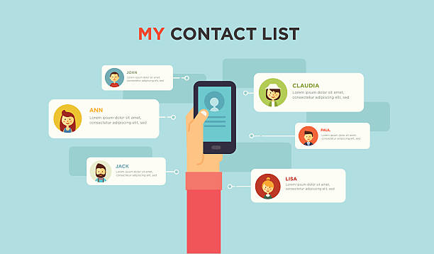 ilustraciones, imágenes clip art, dibujos animados e iconos de stock de redes sociales personas conceptual - lentes contacto