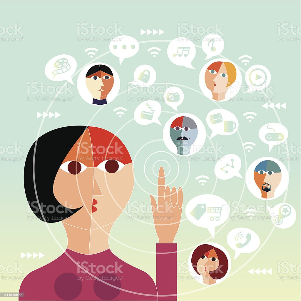 Social networking people vector art illustration