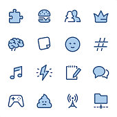 Social Networking icons set #08 Specification: 16 icons, 36x36 pх, stroke weight 2 px Features: Pixel Perfect, Dichromatic, Single line   First row of icons contains: Puzzle, Hamburger, Friendship, Crown;  Second row contains: Brain, Adhesive Note, Emoticon, Hashtag;  Third row contains: Music, Ideas, Note Pad, Speech Bubble;  Fourth row contains: Video Game, Feces, Antenna, File Sharing.  Complete BLUE MICO collection - https://www.istockphoto.com/collaboration/boards/Y8ZYtc2sY0qNQVGRttlncQ