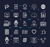 Social networking services outline style symbols with memphis decorations on dark background. Line vector icons set for infographics, mobile and web designs.
