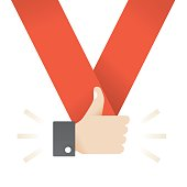 Social networking thumbs up feedback medal.  Idea - Online messaging and blogging, articles commentaries and feedback etc.