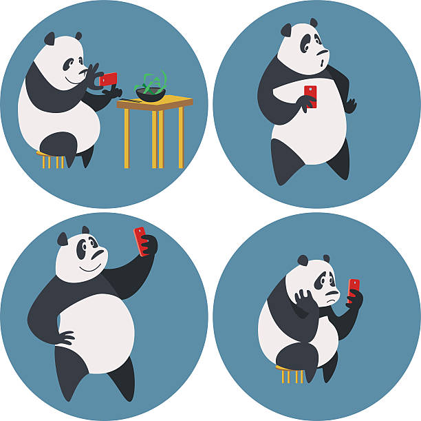 soziale netzwerke süchtig panda - tierfotografie stock-grafiken, -clipart, -cartoons und -symbole