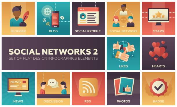 bildbanksillustrationer, clip art samt tecknat material och ikoner med sociala nätverk - modern uppsättning platt design infographics element - profile photo