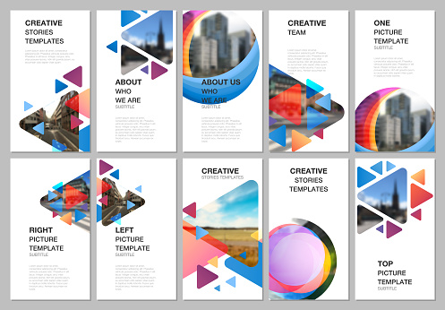 Social networks stories design, vertical banner or flyer templates. Covers design templates for flyer, brochure cover. Colorful simple design background for professional business agency portfolio.