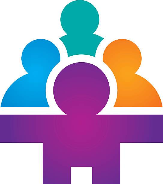 Social partnership group community network icon logo vector art illustration