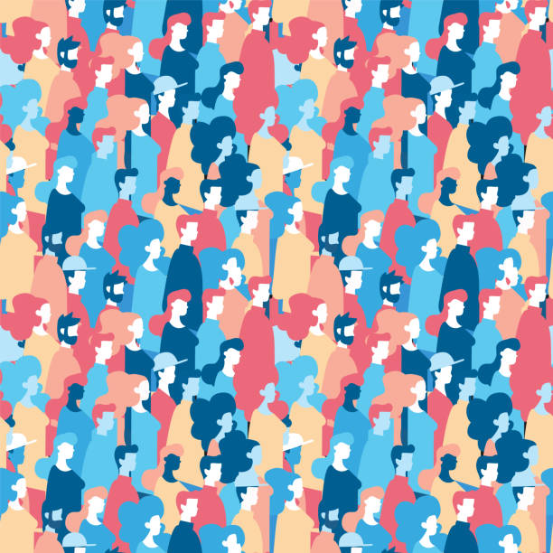Social people group seamless pattern background Social community seamless pattern of diverse people group in modern style, colorful crowd loop background with mixed men and women. EPS10 vector. crowd of people stock illustrations