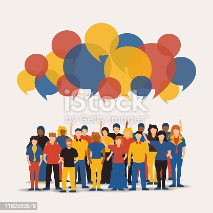 Big people group with colorful chat bubbles. Diverse men and women team together for online communication or network concept.