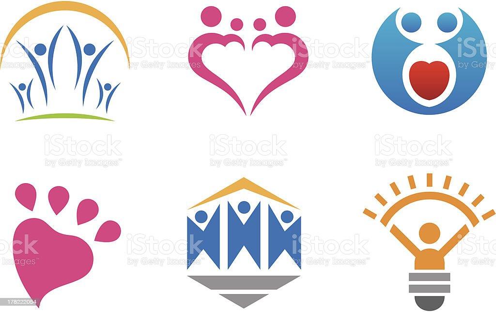 Les gens logo amour de l'innovation et de la Communauté une destination - Illustration vectorielle