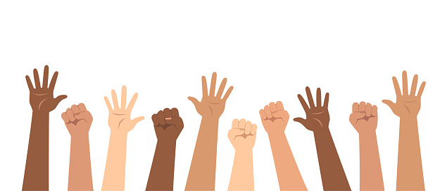 Social poster, banner. Demonstration, protest, strike. Raised up hands of different nationalities. Flat vector illustration.