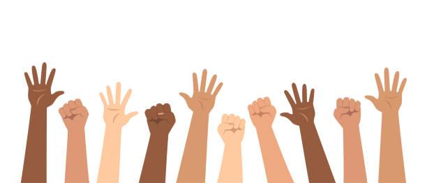 ilustrações de stock, clip art, desenhos animados e ícones de social poster, banner. demonstration, protest, strike. raised up hands of different nationalities. flat vector illustration. - democracy illustration