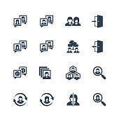 Social Profile Related Vector Icon Set in Glyph Style