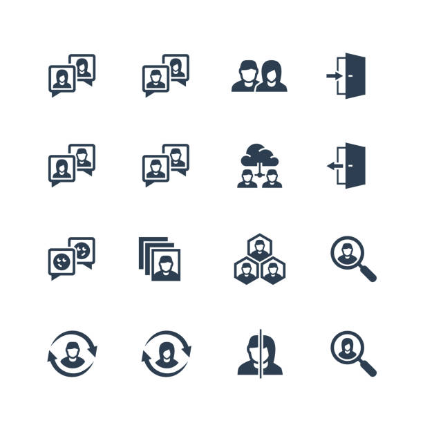 グリフスタイルで設定されたソーシャルプロファイル関連ベクトルアイコン - 金融と経済点のイラスト素材/クリップアート素材/マンガ素材/アイコン素材