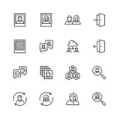 Social profile related vector icon set in thin line style