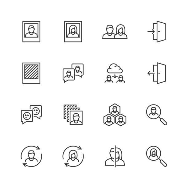 illustrations, cliparts, dessins animés et icônes de profil social associés icon set vector dans le style de ligne fine - entrée