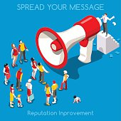 Social Web Promotion Interacting People Unique Isometric Realistic Poses. NEW bright palette 3D Flat Vector Icon Set. Online Communication Marketing Technology Concept. Businessman Megaphone and Crowd
