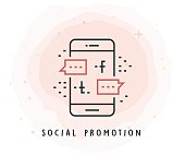 Social Promotion Icon with Watercolor Patch